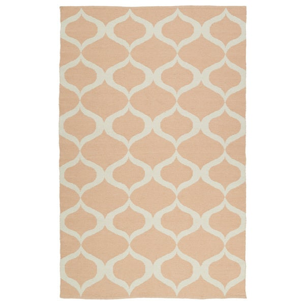 Indoor/Outdoor Laguna Pink and Ivory Geo Flat-Weave Rug - 9' x 12'