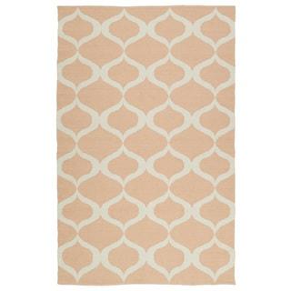 Indoor/Outdoor Laguna Pink and Ivory Geo Flat-Weave Rug (8'0 x 10'0)
