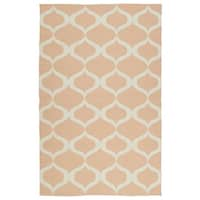 Indoor/Outdoor Laguna Pink and Ivory Geo Flat-Weave Rug - 8' x 10'