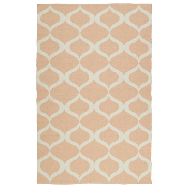 Indoor/Outdoor Laguna Pink and Ivory Geo Flat-Weave Rug (5'0 x 7'6) - 5' x 7'6""