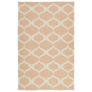 Indoor/Outdoor Laguna Pink and Ivory Geo Flat-Weave Rug (2'0 x 3'0) - 2' x 3'