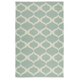 Indoor/Outdoor Laguna Mint and Ivory Geo Flat-Weave Rug (8'0 x 10'0) - 8' x 10'
