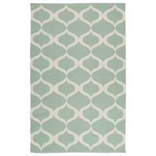 Indoor/Outdoor Laguna Mint and Ivory Geo Flat-Weave Rug (8' x 10')