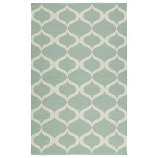 Indoor/Outdoor Laguna Mint and Ivory Geo Flat-Weave Rug (9'0 x 12'0)