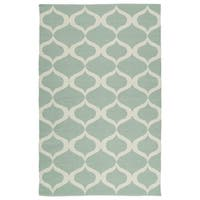 Indoor/Outdoor Laguna Mint and Ivory Geo Flat-Weave Rug - 5' x 7'6""