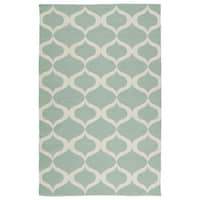 Indoor/Outdoor Laguna Mint and Ivory Geo Flat-Weave Rug - 3' x 5'