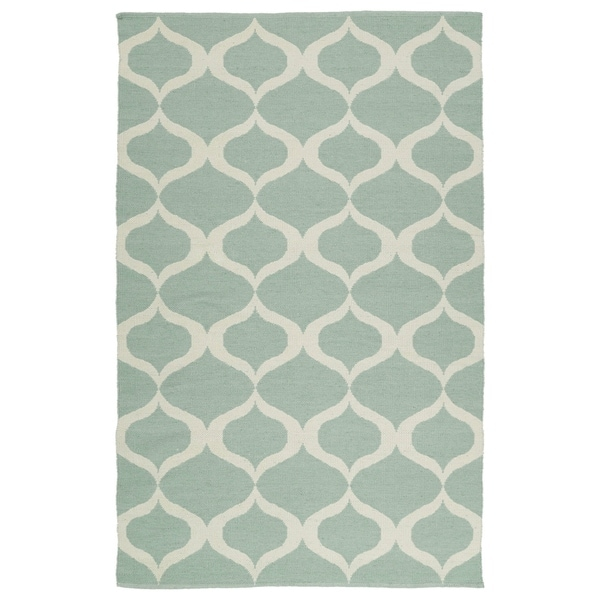 Indoor/Outdoor Laguna Mint and Ivory Geo Flat-Weave Rug (2'0 x 3'0) - 2' x 3'