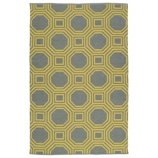 Indoor/Outdoor Laguna Grey and Yellow Geo Flat-Weave Rug (2' x 3')