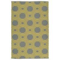 Indoor/Outdoor Laguna Grey and Yellow Geo Flat-Weave Rug - 2' x 3'