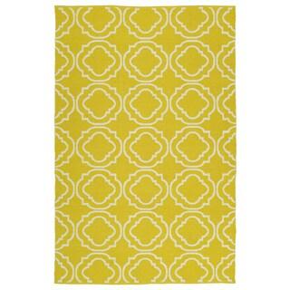 Indoor/Outdoor Laguna Yellow and Ivory Geo Flat-Weave Rug (2'0 x 3'0)
