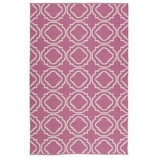 Indoor/Outdoor Laguna Pink and Ivory Geo Flat-Weave Rug (2' x 3')