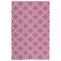 Indoor/Outdoor Laguna Pink and Ivory Geo Flat-Weave Rug - 2' x 3'