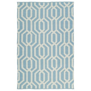 Indoor/Outdoor Laguna Spa Blue and Ivory Geo Flat-Weave Rug - 2' x 3'