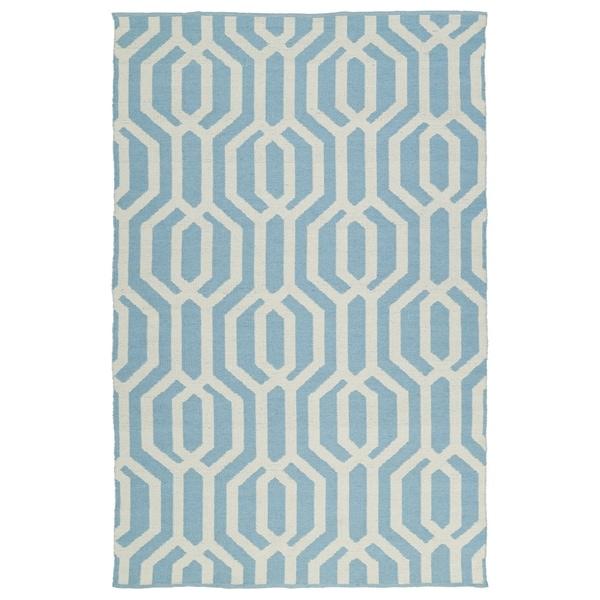 Indoor/Outdoor Laguna Spa Blue and Ivory Geo Flat-Weave Rug - 2' x 3'