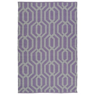 Indoor/Outdoor Laguna Lilac and Grey Geo Flat-Weave Rug (8'0 x 10'0)