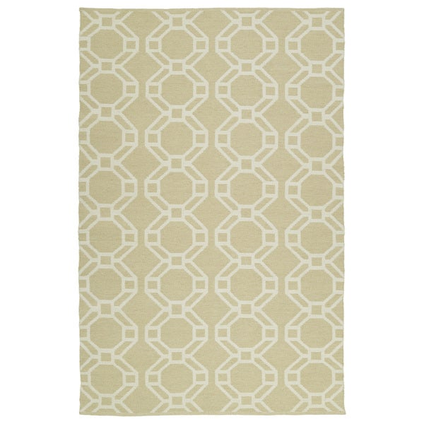 Indoor/Outdoor Laguna Khaki and Ivory Geo Flat-Weave Rug (5'0 x 7'6) - 5' x 7'6""