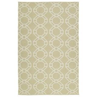 Indoor/Outdoor Laguna Khaki and Ivory Geo Flat-Weave Rug (5'0 x 7'6)