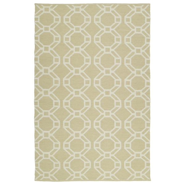 Indoor/Outdoor Laguna Khaki and Ivory Geo Flat-Weave Rug - 9' x 12'
