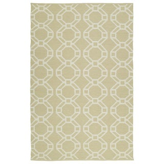 Indoor/Outdoor Laguna Khaki and Ivory Geo Flat-Weave Rug (9'0 x 12'0)
