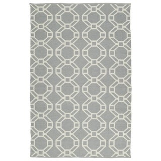 Indoor/Outdoor Laguna Grey and Ivory Geo Flat-Weave Rug (8'0 x 10'0)