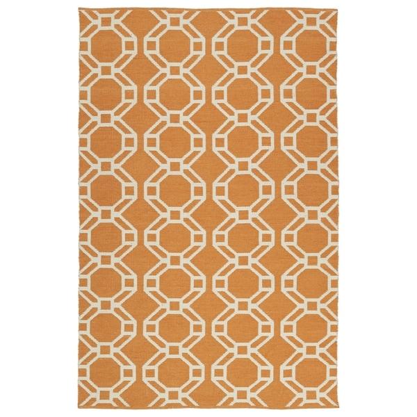 Indoor/Outdoor Laguna Orange and Ivory Geo Flat-Weave Rug (3' x 5')