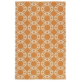 Indoor/Outdoor Laguna Orange and Ivory Geo Flat-Weave Rug (3' x 5')