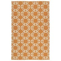 Indoor/Outdoor Laguna Orange and Ivory Geo Flat-Weave Rug - 8' x 10'