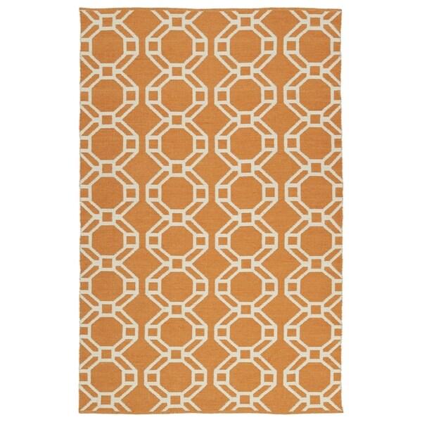"""Indoor/Outdoor Laguna Orange and Ivory Geo Flat-Weave Rug (5' x 7'6"""")"""