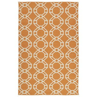 Indoor/Outdoor Laguna Orange and Ivory Geo Flat-Weave Rug (9'0 x 12'0)