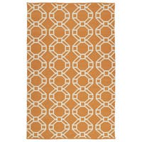 Indoor/Outdoor Laguna Orange and Ivory Geo Flat-Weave Rug - 9' x 12'