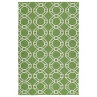 Indoor/Outdoor Laguna Lime and Ivory Geo Flat-Weave Rug - 3' x 5'