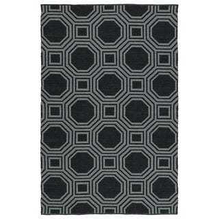 Indoor/Outdoor Laguna Black and Grey Geo Flat-Weave Rug (3'0 x 5'0) - 3' x 5'