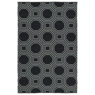 "Indoor/Outdoor Laguna Black and Grey Geo Flat-Weave Rug (5'0 x 7'6) - 5' x 7'6"""