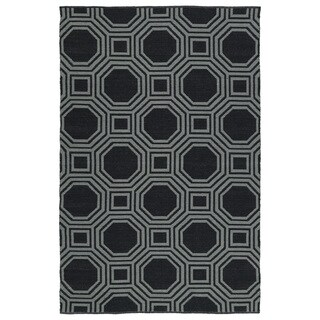Indoor/Outdoor Laguna Black and Grey Geo Flat-Weave Rug (9'0 x 12'0) - 9' x 12'