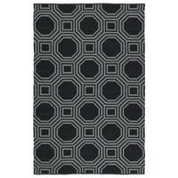 Indoor/Outdoor Laguna Black and Grey Geo Flat-Weave Rug - 9' x 12'