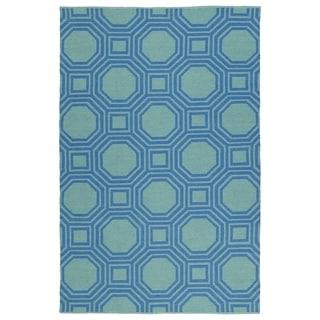 Indoor/Outdoor Laguna Turquoise and Blue Geo Flat-Weave Rug (3'0 x 5'0) - 3' x 5'