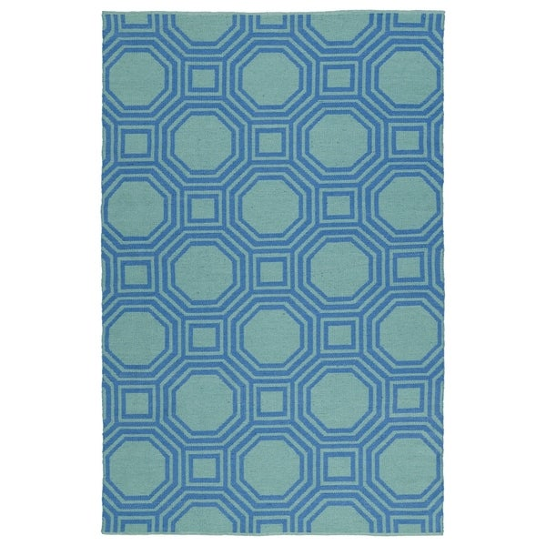 Indoor/Outdoor Laguna Turquoise and Blue Geo Flat-Weave Rug - 9' x 12'