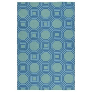 Indoor/Outdoor Laguna Turquoise and Blue Geo Flat-Weave Rug (9'0 x 12'0)