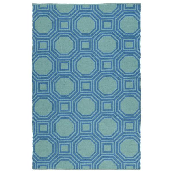 Indoor/Outdoor Laguna Turquoise and Blue Geo Flat-Weave Rug - 8' x 10'