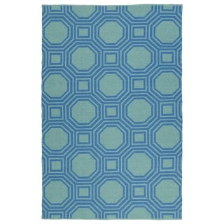 Indoor/Outdoor Laguna Turquoise and Blue Geo Flat-Weave Rug (8'0 x 10'0)