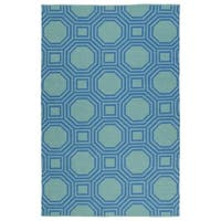 Indoor/Outdoor Laguna Turquoise and Blue Geo Flat-Weave Rug - 8' x 10'