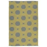 Indoor/Outdoor Laguna Grey and Yellow Geo Flat-Weave Rug - 3' x 5'