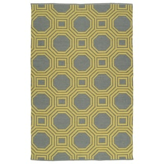 "Indoor/Outdoor Laguna Grey and Yellow Geo Flat-Weave Rug (5' x 7'6"")"