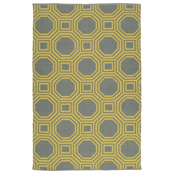 Indoor/Outdoor Laguna Grey and Yellow Geo Flat-Weave Rug - 8' x 10'