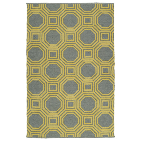 Indoor/Outdoor Laguna Grey and Yellow Geo Flat-Weave Rug - 9' x 12'