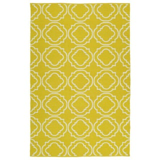 Indoor/Outdoor Laguna Yellow and Ivory Geo Flat-Weave Rug (3'0 x 5'0)