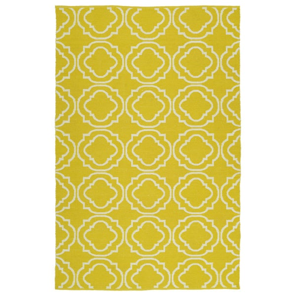 Indoor/Outdoor Laguna Yellow and Ivory Geo Flat-Weave Rug (5'0 x 7'6)