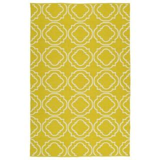 Indoor/Outdoor Laguna Yellow and Ivory Geo Flat-Weave Rug (5'0 x 7'6)