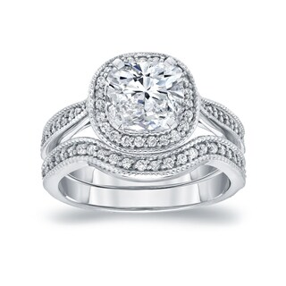 Auriya 14k White Gold 1 1/2ct TDW Cushion-Cut Diamond Halo Milgrain Bridal Ring Set