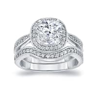 Auriya 14k White Gold 1 1/2ct TDW Vintage Cushion-Cut Diamond Halo Engagement Ring Wedding Set